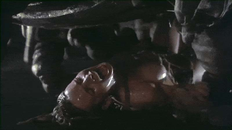 Disgusting cut scene (18+) alien worm monster rips clothes from a woman Dameia (Taaffe O'Connell) and brutally rapes her, «Galaxy of Terror», 1981.