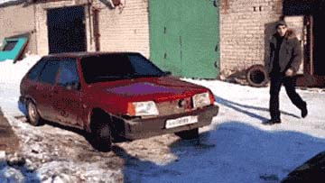 The Russian dude kicked his car and the car fell apart.